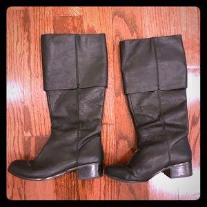 Rosegold black boot sz 6